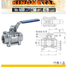 Stainless Steel Female Threaded 3PC/3-Piece Ball Valve
