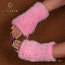 Reasonable price ashion half fur gloves
