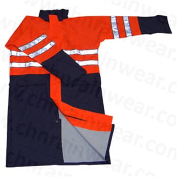 Waterproof with Reflective Strip PU Raincoat