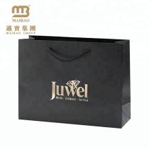 Изготовленное на заказ печатание декоративные Штемпелевать золота в розницу роскошный подарок черный ювелирные изделия бумажный мешок с логотипом