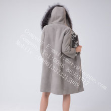 두건이있는 스페인 Merino Shearling Coat for Lady