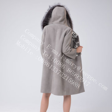 Hooded Spain Merino Shearling jas voor Lady