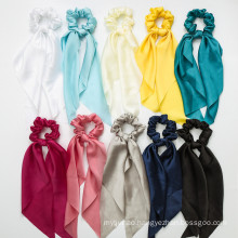 Korean Solid Ribbon Silk Fabric Bowknot Scrunchies Hair Tie Elastic Band Ring for Women Girl Ponytail Hair Rubber Accessories