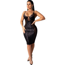 12-C4366 Women fashion Christmas hot selling Amazon slip dress solid color lace bodycon women midi dress club elegant dress