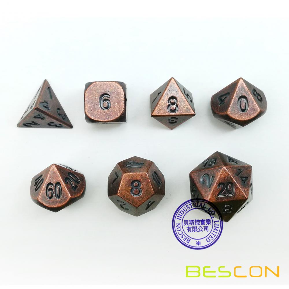 Bescon+Antique+Copper+Solid+Metal+Polyhedral+D%26D+Dice+Set+of+7+Old+Copper+Metal+RPG+Role+Playing+Game+Dice+7pcs+Set
