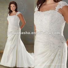 Taffeta lace spaghetti straps pleated and beaded bodice wedding dress