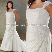 Тафта кружева бретельках плиссированные и бисером лиф свадебное платье