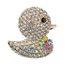 Silver Plated Full Rhinestone Lovely Duck Classical Brooch