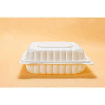 "8"" Disposable PP White Plastic  Lunch Box"
