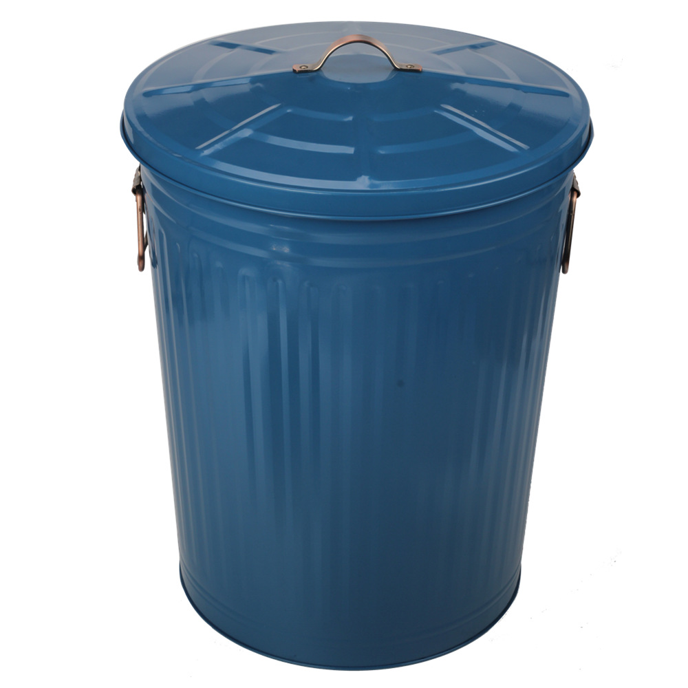 Garden Painting Blue Trash Can With Lid