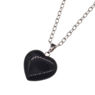 Black Onyx Heart Pendant necklace 45cm Chain
