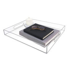 OLEG  wholesale cheaper price customized home hotel restaurant clear acrylic serving tray with handles