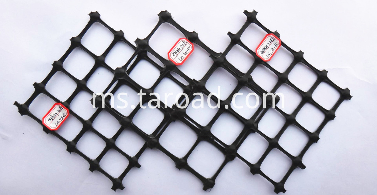 PP biaxial geogrid reinforced retaining wall