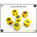 Customized Yellow Marble Dice with Custom Engraving on Six Sides