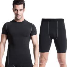 Homens Workouts Vestuário de manga curta T-shirt e calções Calças de Fitness Sports Suit