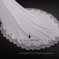 Confecção de tecido de cetim de alta qualidade, vestido de casamento bordado com lantejoulas e renda