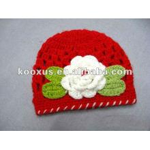 Baby Infant Toddler mano Crochet Beanie Hat con flor de margarita Clip