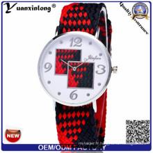 Yxl-208 2016 nouvelles montres tissées par tissu de Colorfull, montre en acier de dames de montre de sport de quartz en acier