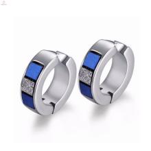 Promoción White Crystal Stone Silver Hoop Earrings Jewelry
