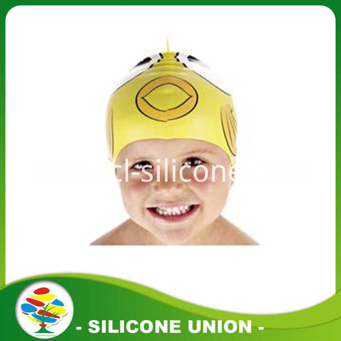 yellow silicone swimming caps