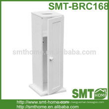 White Wooden Bathroom Toilet Paper Roll Holder / Floor Standing Storage Cabinet