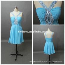 Últimos designs formais Blue Sweetheart Neckline Custom Made Mini Cocktail Occasion Party CD073 padrões de vestido de chiffon