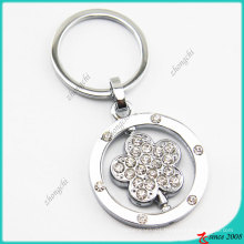 Clear Crystals Flower Rotatable Promotional Key Chain (KC)