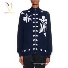 Mulheres flor intarsia malha suéter de cashmere cardigan com zíper