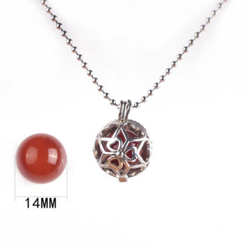 Fashion Jewelry Agate Natural Stone Chakras Carnelian Pendant Necklace with Sliver Chain