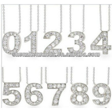 Obtener Lucky CZ Número collar colgante inoxidable stel Jewelry Fabricante