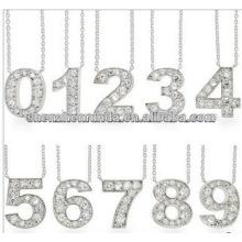 Obter Lucky CZ Número pingente de colar inoxidável stel Jewelry Fabricante