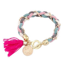 Wholesale fashion colorful woven cord bracelet with round charm for women/small orders are available