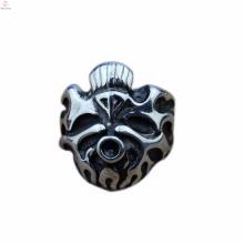 Prix de gros en acier inoxydablevintage biker argent crâne anneaux
