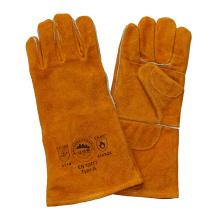 Protección de la mano de cuero de la palma doble Guantes resistentes del corte para la soldadura