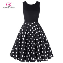Grace Karin Retro Vintage Sleeveless Crew Neck Patchwork Flare A-Line Black Polka Dots Dress CL010463-3