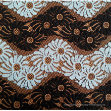 Tissu en dentelle à rayures ondulées noir et blanc