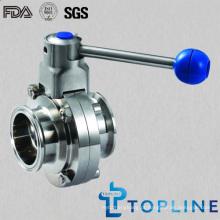 Válvula de borboleta de aço inoxidável sanitária com extremidades de tri-grampo