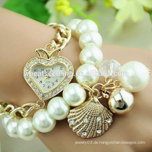 2014 Trendy Kettenglied Perlen Armband Uhr