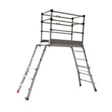 Sistema de escalera de andamio de aluminio con pies de goma.