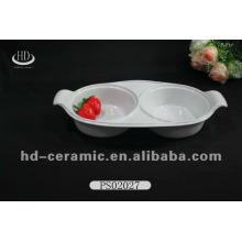 Platos de boda de cerámica blancos llanos de la forma única de la buena calidad del lavaplatos del qulity platos