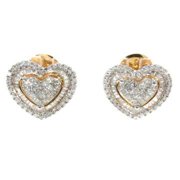 Boucles d'oreilles coeur 925 Bijoux en argent 18k Plaqué or