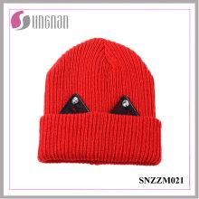 2016 último gorro de lana grueso caliente encantador sombrero de punto de encaje Rhinestone del oído