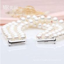 Bracelet de mode de perles d'eau douce de nature 3strands 6-7mm (E150036)