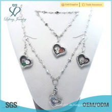 Fabrik Preis Fasion 20mm billig Kristall Silber 316L Edelstahl Herz schwimmenden Medaillon Ohrring Armband Halskette Schmuck Set