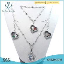 Prix d'usine Fasion 20mm Pas cher Crystal Silver 316L coeur en acier inoxydable Locket flottant Pendentif Bracelet Collier Set de bijoux