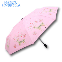 Merchandising Promotional Christmas Gifts 2017 3 Folding Wholesale Customized Printed Deer Umbrella Wind Proof