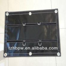 Black reinforced D-ring trailer tarpaulin