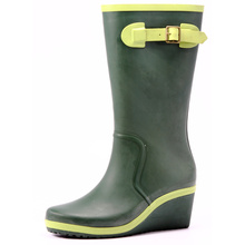 Women's Green Wedge Heel Rubber Rain Boots