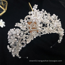 Handmade Shinning Exquisite Pearl Crystal Wedding Bridal Headpiece Pageant Tiara  Crowns