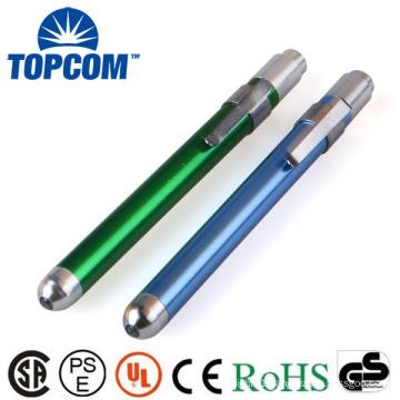 3V 0.5W Aluminum Alloy Custom LOGO Cool White LED Pen Torch Light Medical